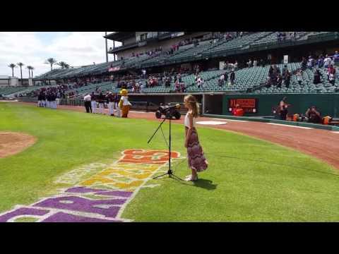 Addison singing the National Anthem