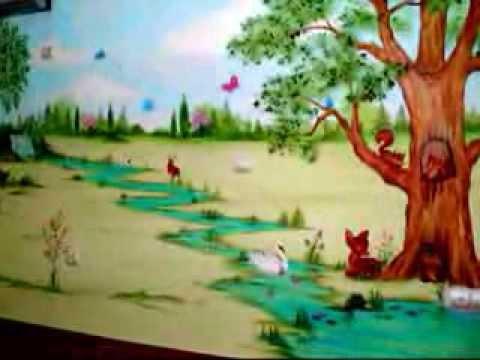 Παιδική τοιχογραφία: ζώα στο δάσος και στη φάρμα