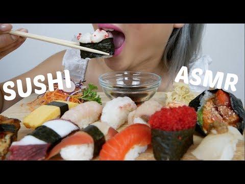 ASMR SUSHI *NO Talking Relaxing Eating Sounds   N.E Let's Eat