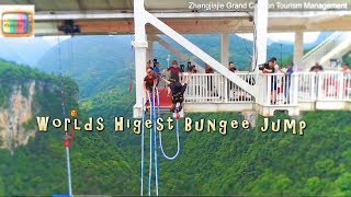 World's Highest Bungee Jump At 850ft Attached To Glass Bridge Zhangjiajie Grand Canyon