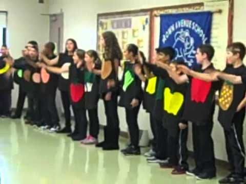 """Brown Avenue School fifth graders sing Dole's """"Five a Day"""" song, 10/19/2012"""