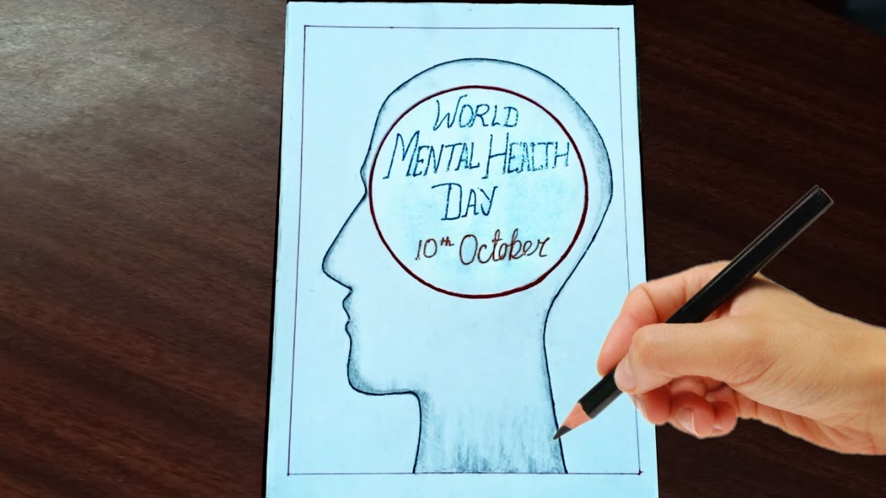 How To Draw World Mental Health Day Poster Easy 10th October Youtube
