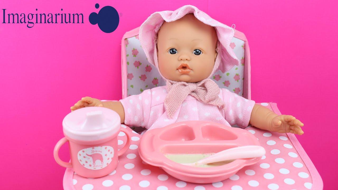 muy elogiado costo moderado nuevo estilo de Muñeca Bebé, Trona y Set de comiditas de Imaginarium | La Bebé come papilla  en la trona
