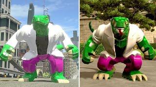 Evolution of Lizard in LEGO Marvel Videogames