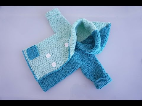 Детский жакет спицами для возраста от новорожденного до 2-х лет. Часть1-я из 2-х
