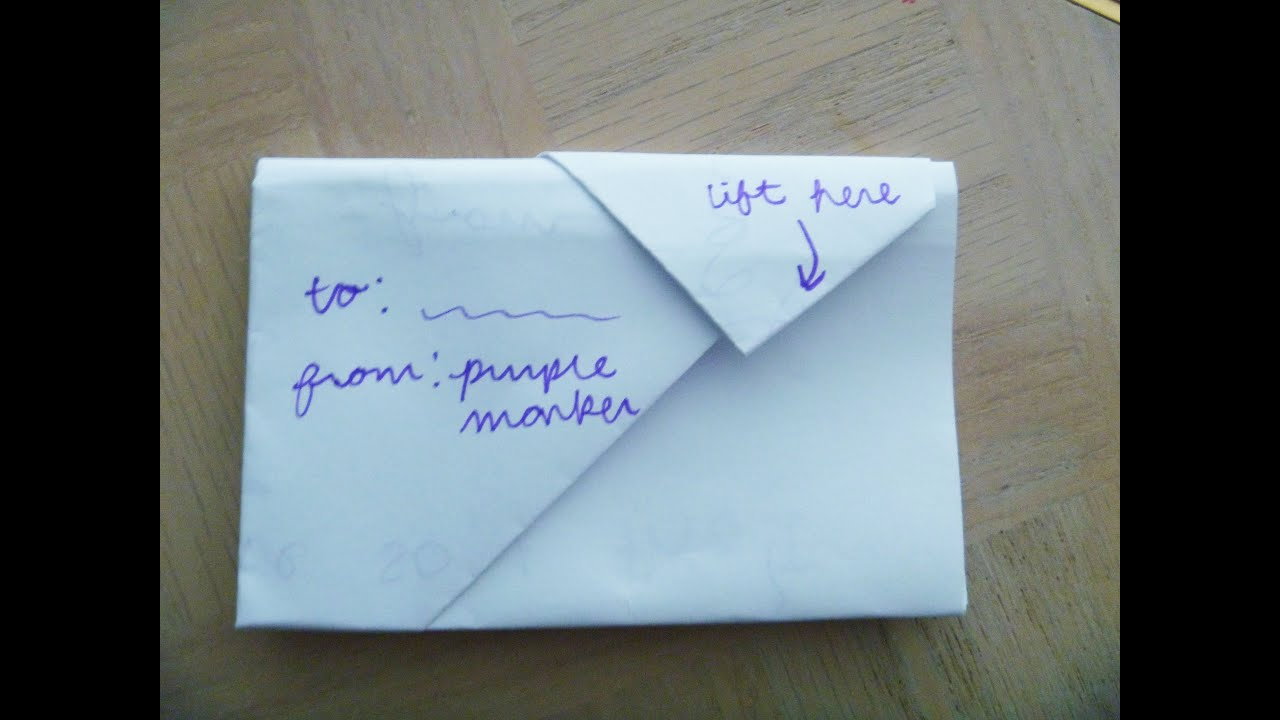 HOW to FOLD a NOTE into a SECRETIVE ENVELOPE Cute Creative but
