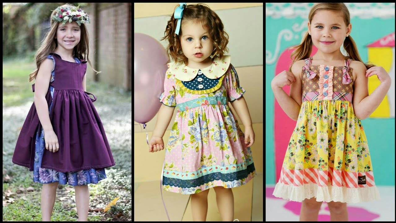 Comfortable Unique & Elegant 2 to  6 year old little girls frock & dress designs stitching ideas