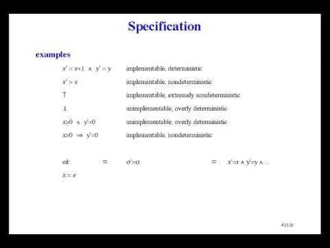 Formal Methods of Software Design - Specification [8/33]