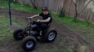 Quad bike Drifting in a small backyard