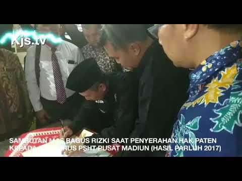 SAMBUTAN MAS BAGUS RIZKI SAAT PENYERAHAN HAK PATEN KEPADA PENGURUS PSHT PUSAT MADIUN ( PARLUH 2017)