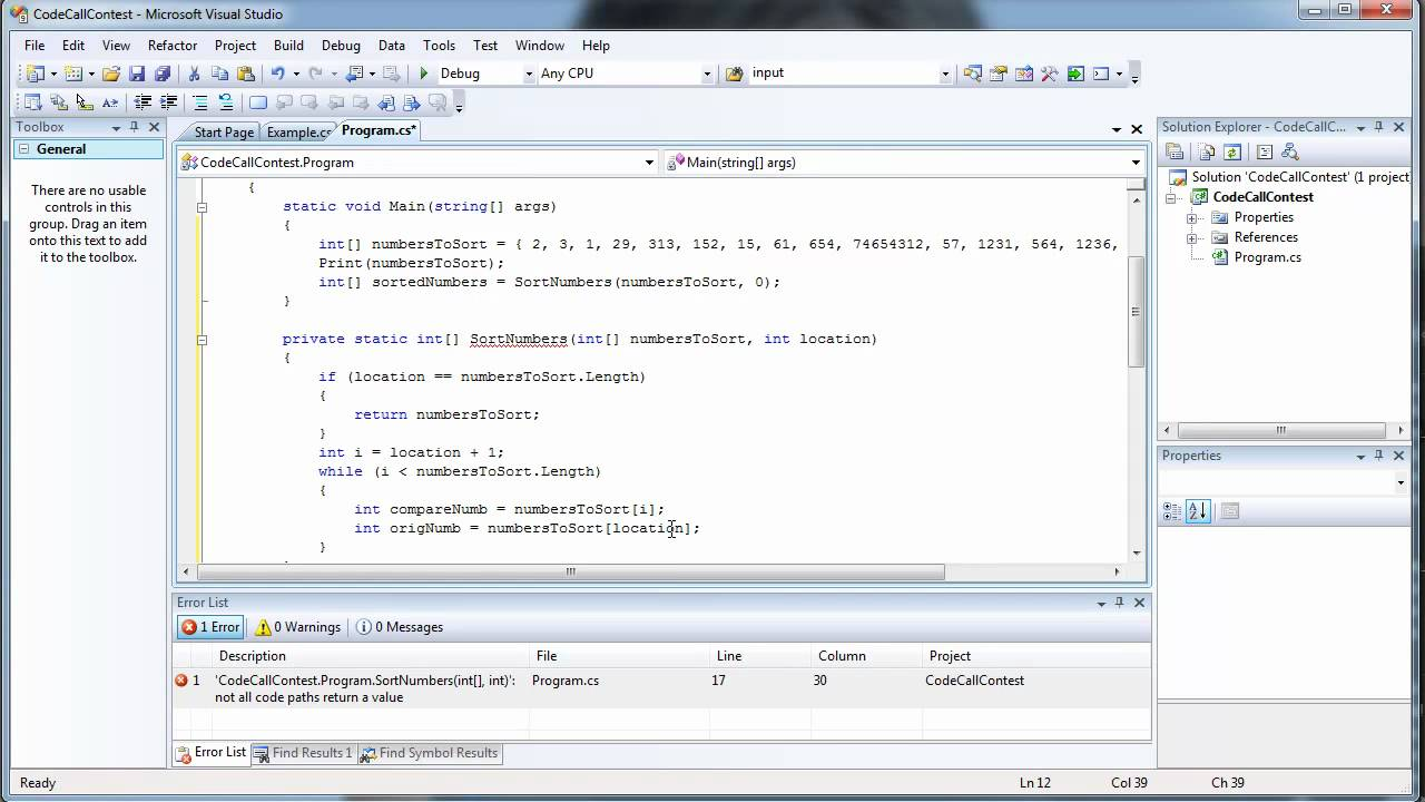 How to write a Sorting Algorithm in C# Using Visual Studio