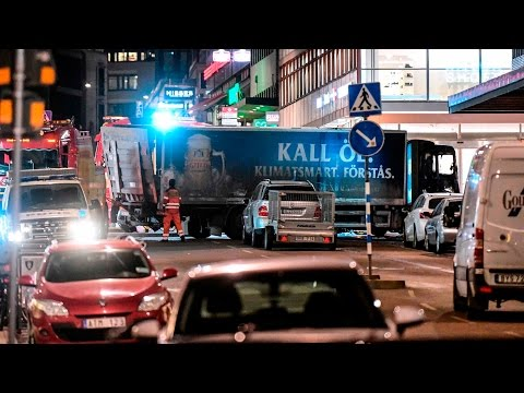 Video captures moments after truck rams into a store in Stockholm