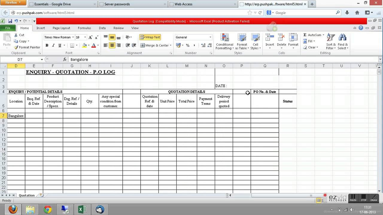 microsoft access quotation template