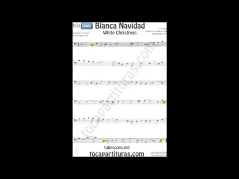 White Christmas Sheet Music in Bass Clef Carol Song for Trombone, Cello, Bassoon, Tube, Euphonium...