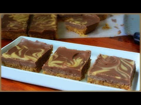 No Bake Chocolate & Peanut Butter Bars -  4 Ingredient Recipe