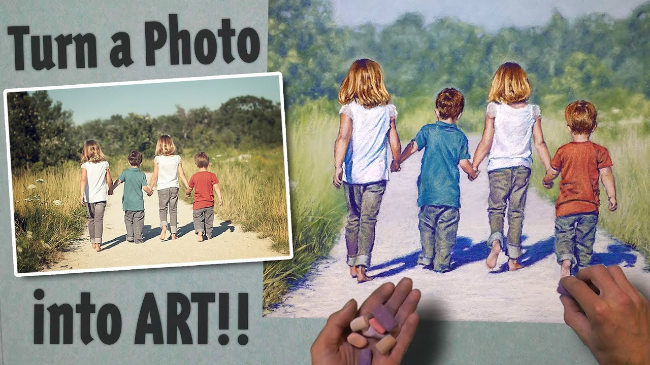 Turn A Photo Into Art Pastel Speed Painting Kids Walking At The