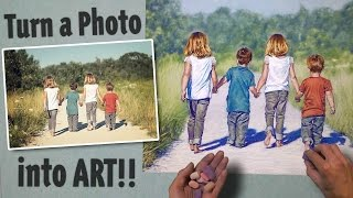 Turn a Photo into Art - Pastel Speed Painting - Kids Walking a…