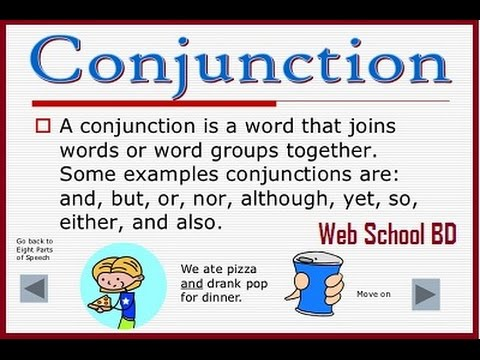 Parts Of Speech Conjunction Youtube