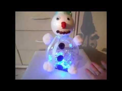 diy bonhomme de neige lumineux youtube. Black Bedroom Furniture Sets. Home Design Ideas