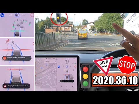 Stop/Start At TRAFFIC LIGHTS, STOP SIGNS & GIVE WAY! 🇬🇧 Tesla Autopilot 2020.36.10 Full Self Drive