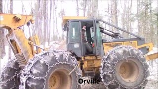 logging with grapple skidder, feller buncher & slasher