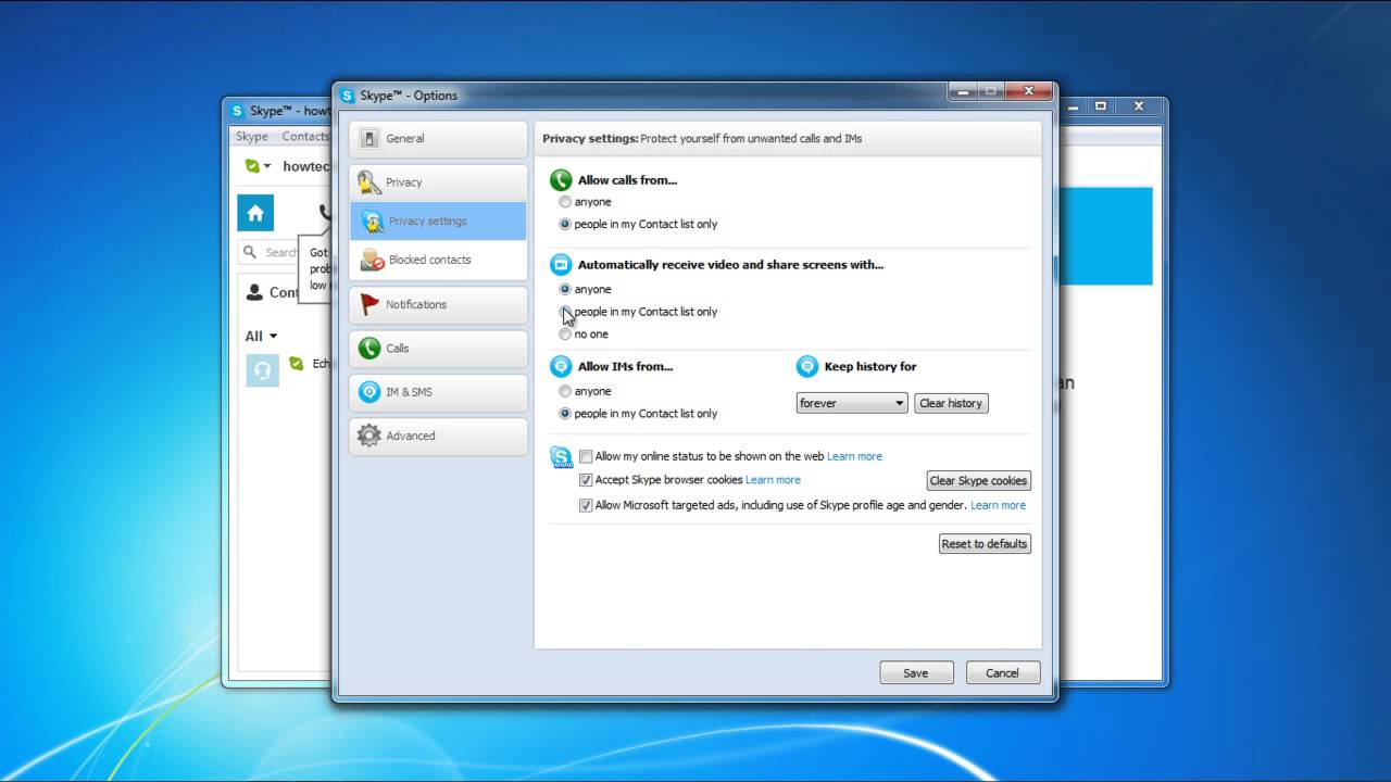 how to change privacy settings on skype