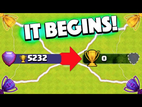 Clash Of Clans - DROPPING FROM 5,000 TO 0 TROPHIES! The Push To The Bottom Begins