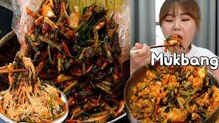 이건 꼭 먹어야해 😁 봄철 열무얼갈이 김치 만들어서 보리열무비빔밥, 비빔국수 먹방 Mukbang