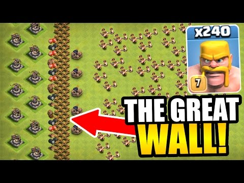 "Thumbnail: ""THE GREAT WALL OF CLASH OF CLANS!"" - INSANE TROLL BASE GAME PLAY!"