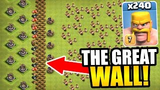 """THE GREAT WALL OF CLASH OF CLANS!"" - INSANE TROLL BASE GAME PLAY!"