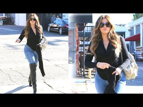 Khloe Kardashian Struts Her Stuff In Leather Knee High Boots 2014