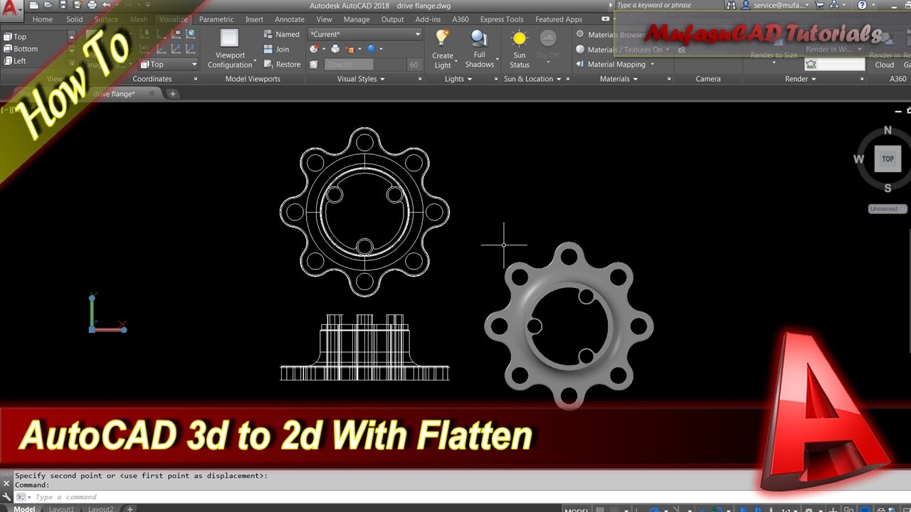 AutoCAD How To Flatten 3D To 2D - YouTube