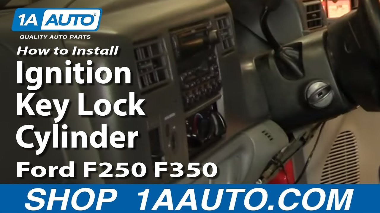 how to replace ignition key lock cylinder 99 04 ford f250 f350 [ 1280 x 720 Pixel ]