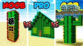 Minecraft NOOB vs. PRO vs. GOD: CACTUS BASE CHALLENGE in Minecraft! (Animation)