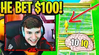 CLIX *CRIES LAUGHING* 1v1ing DUMBEST Player EVER! (PRO vs NOOB for $100)