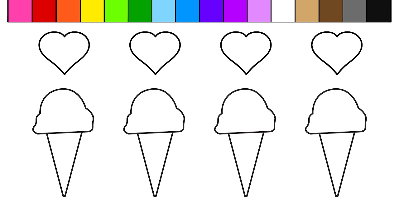 learn colors for kids and color this ice cream and heart coloring