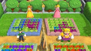 Mario Party 9 Garden Battle - Daisy Vs Peach Vs Luigi Vs Wario| Cartoons Mee