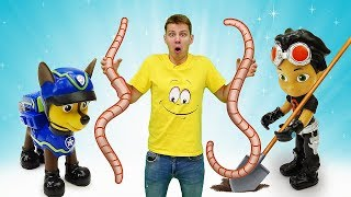 Видео про игрушки из мультиков Веселая школа. Рыбалка с Элаясом и Чейзом