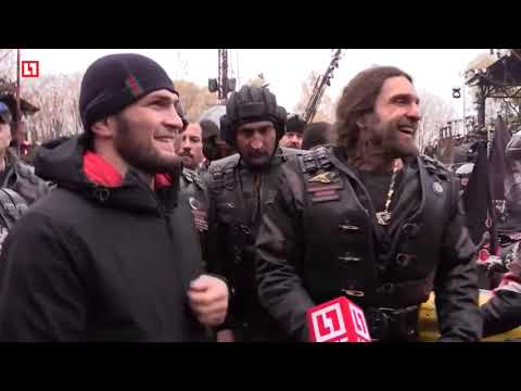 Biker Gangs Parade Khabib Thru Mother Russia - Their MMA World Champion