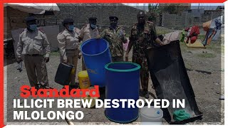 Machakos County Assistant Commissioner Denis Ongega pour 394 litres of illicit brew in Mlolongo