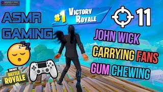 ASMR Gaming ???? Fortnite John Wick Carrying Fans Gum Chewing ???????? Controller Sounds + Whispering ????
