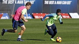FC Barcelona training session: A place in the...