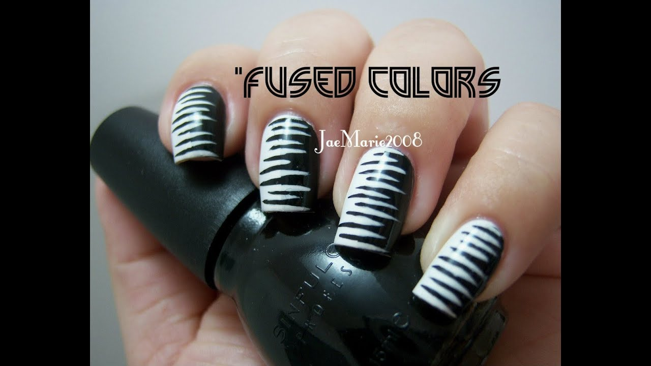 Fused Colors Black White Inspired Nail Design Youtube