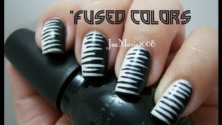 """Fused Colors""- Black & White- Inspired Nail Design"