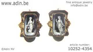 Early Victorian earrings with grisaille enamel empire scene. (Adin reference: 10252-4354)