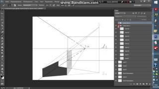 Урок № 10  Падающая тень от прямоугольника на стену в перспективе
