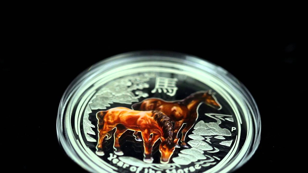 2014 Australian Lunar Series II Year Of The Horse Colorized 1//2 oz Silver Coin