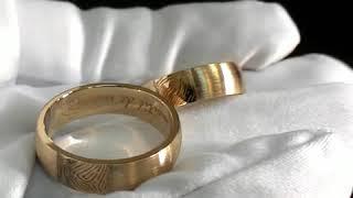 Обручальные кольца с отпечатками пальцев жениха и невесты 👐 из красного матового золота.