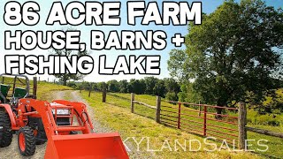 Home and Land for Sale Kentucky 86 acre Farm fishing lake