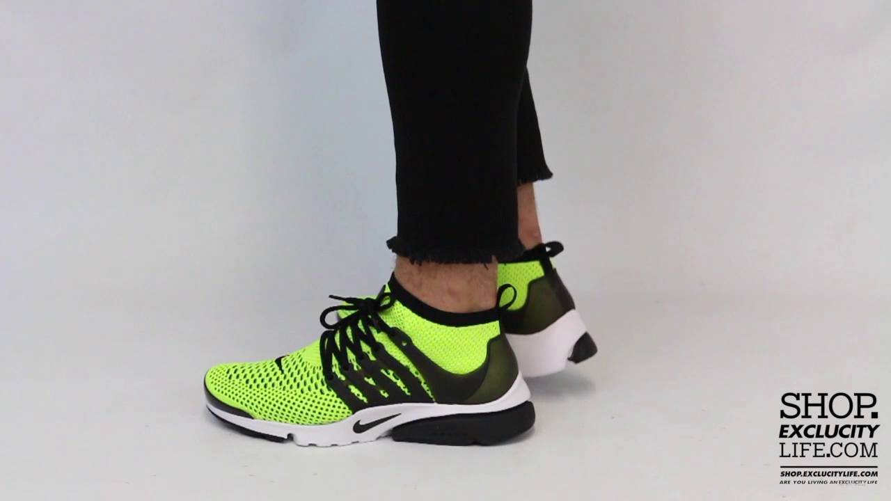 81f542225a309 Nike Presto Flyknit Ultra Volt - Black On feet Video at Exclucity - YouTube
